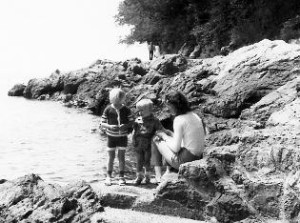 Peter's wife and children at the Adriatic Sea