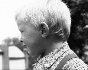Peter's son with scratches on his face from the escape across the Czechoslovakian border